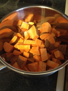 I start by cutting up and boiling sweet potatoes. I used maybe 4 smallish sweet potatoes here.